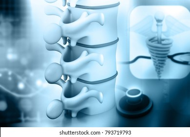 Human spine with orthopaedic concept background. 3d illustration