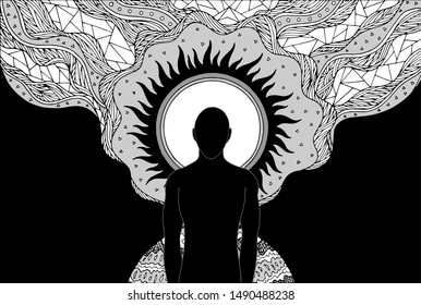 human and spirit energy connect to the universe power abstract art illustration design hand drawing
