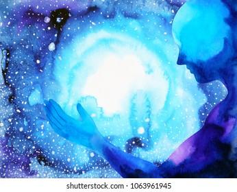 énergie humaine et spirituelle puissante se connecte à l'univers puissance abstraite art à l'aquarelle illustration dessinée à la main