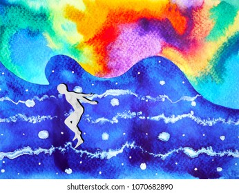 human and spirit powerful energy connect to the universe power abstract art watercolor painting illustration design hand drawn