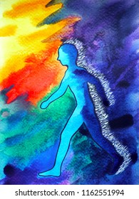 human and spirit powerful energy connect to the universe power abstract vr virtual reality art watercolor painting illustration design hand drawn