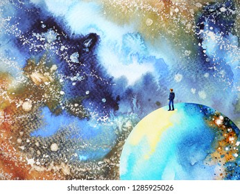 human and spirit powerful energy connect mind universe power abstract art watercolor painting illustration design hand drawing