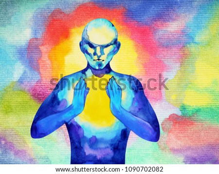 Human Spirit Powerful Energy Connect Universe Stock Illustration