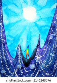 human and spirit powerful sun sunny energy connect to the universe power abstract art watercolor painting illustration design hand drawn
