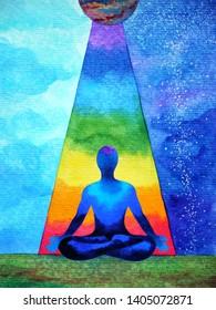 human spiritual mind power chakra abstract watercolor painting art illustration design hand drawing