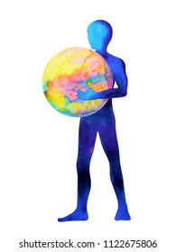 human standing holding colorful world in universe watercolor painting illustration design hand drawing