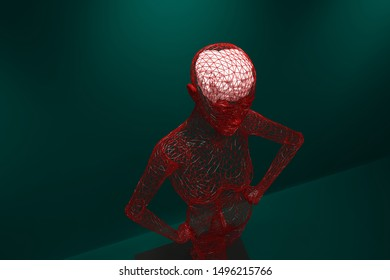 Human structure with a brain to drive.3d rendering,illustration