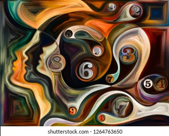 Human Texture series. Abstract background made of male, female and child faces, rich colors, organic textures, numbers for use with projects on inner world, mind, soul, math and Nature