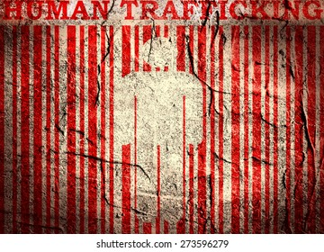 human trafficking text and barcode on concrete textured backdrop