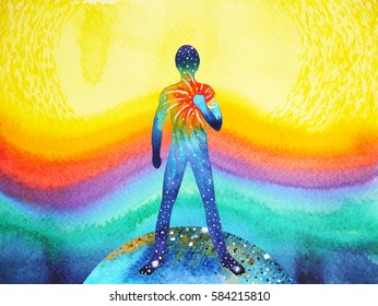 human and universe power, watercolor painting, chakra reiki, inspiration abstract thought, world, universe inside your mind