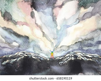 human and universe power, watercolor painting, inspiration abstract thought, world, universe inside your mind