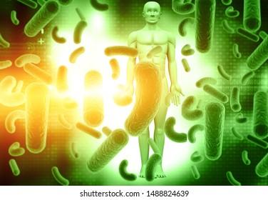 Human virus, bacteria infection. virus with man . 3d illustration
