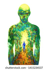 human walking forest way abstract watercolor painting illustration hand drawing