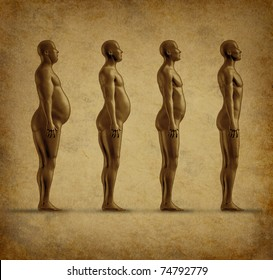 Human weight loss chart symbol represented by an obese human gradualy losing fat resulting in a healthy fit man on a grunge parchment paper texture.