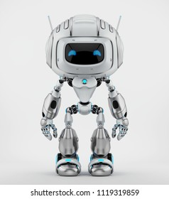 Human-like robotic creature with antennas, 3d illustration