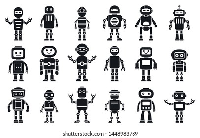 Humanoid character icons set. Simple set of humanoid character icons for web design on white background