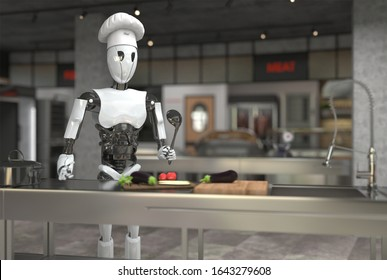 A humanoid robot chef cooks dishes in a restaurant kitchen. Replacing human labor with robotics. Future concept with smart robotics and artificial intelligence. 3D rendering