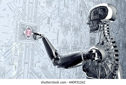 humanoid robot clicking network computer , 3d illustration