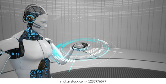 Humanoid robot with a compass in the hand. 3d illustration.