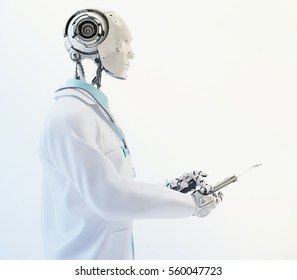 Humanoid robot doctor with stethoscope wears medical gown and tie holding tablet in side 3d render / Robotic doctor