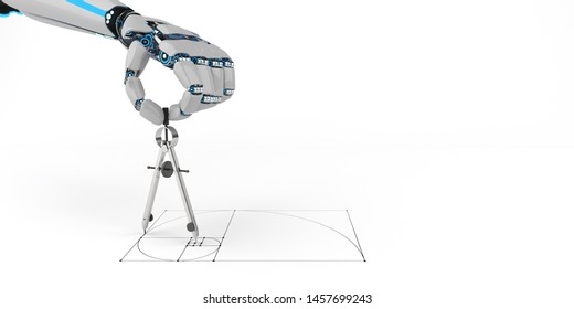 Humanoid robot hand with compass and golden ratio sketch. 3d illustration.