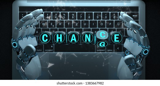 Humanoid robot hands with notebook and the text Change Chance. 3d illustration.
