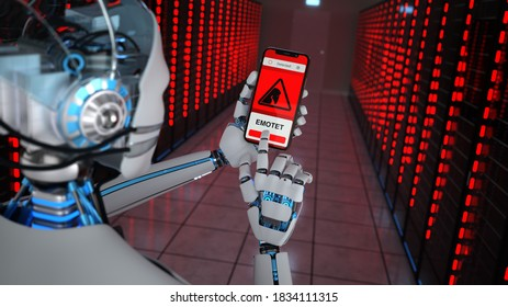 Humanoid robot has detected an emotet-trojan in the data center. 3d illustration.