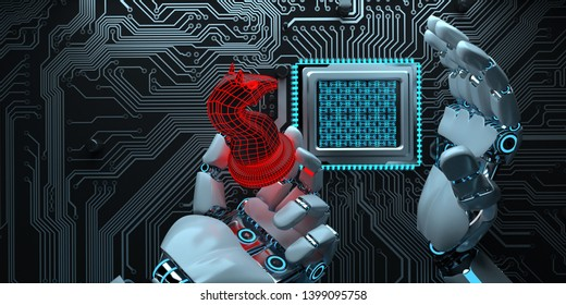 Humanoid robot infects the hardware with a trojan. 3d illustration.