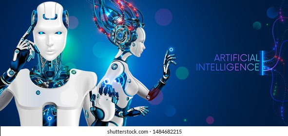 Humanoid robot man and woman waist with ai. white cybernetic robotic cyborgs on blue background. Fantastic mechanical characters from science fiction. Artificial intelligence technology concept.