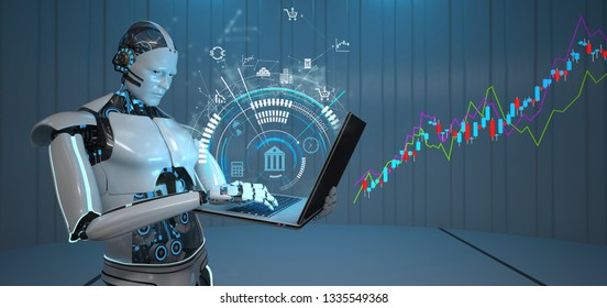 Humanoid robot with a notebook and a growing candle stick chart. 3d illustration.