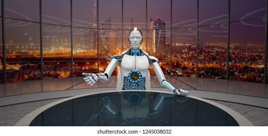 Humanoid robot sitting at the table. 3d illustration.