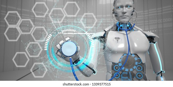 Humanoid robot with a stethoscope, HUD and empty hexagons. 3d illustration.