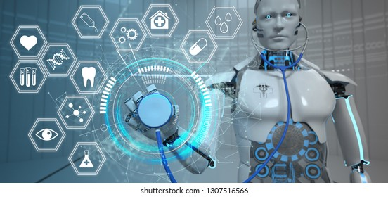 Humanoid robot with a stethoscope, HUD and medicine icons. 3d illustration.