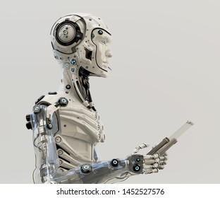 Humanoid robot working with glass digital tablet, 3d illustration