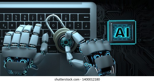 Humanoider robot tries to decrypt the password. 3d illustration.