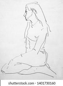 human's figure, pencil drawing illustration, sketch