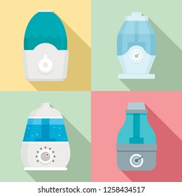 Humidifier icon set. Flat set of humidifier icons for web design