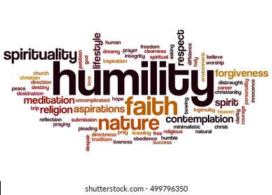 Humility word cloud concept, tags related to humility and spirituality.