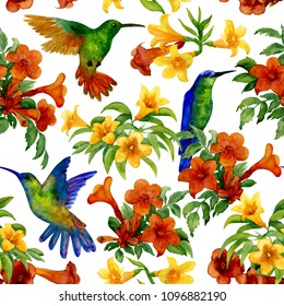Humming birds in tropic garden. Seamless background