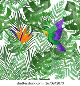 Hummingbird/colibri and orange strelitzia on tropical leaves. White background. Tropical summer print. Packaging, wallpaper, stationery, fabric, textile design