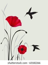 hummingbirds and poppies. Jpeg version