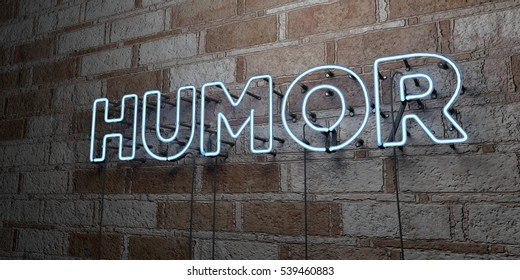 HUMOR - Glowing Neon Sign on stonework wall - 3D rendered royalty free stock illustration.  Can be used for online banner ads and direct mailers.