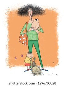 Humor illiustration of a stressed-out, frazzled mom with a baby and a toddler