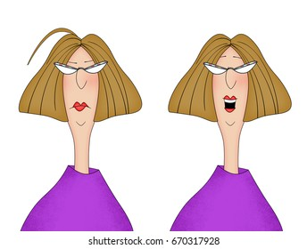 Humor illustration of a woman looking unhappy and then happy