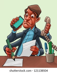 Humorous cartoon of a businessman seated behind his desk multitasking with four hands answering a mobile, taking a landline call, writing and reading a document