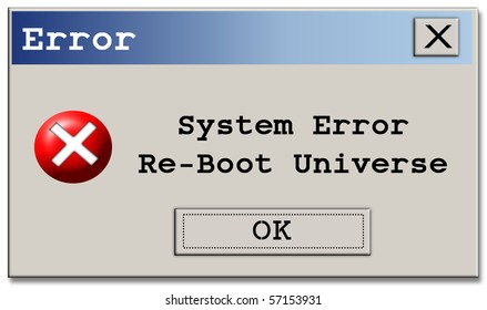 Humorous Computer type error pop-up box with a twist