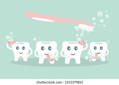 Humorous concept brushing teeth. Cute cartoon style teeth wash with pink sponges,soap bubbles and toothbrush on blue background. Ideal for advertising dental services. Raster illustration