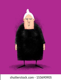 Humorous illustration of a cranky peevish old lady in a black dress