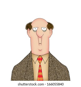 Humorous illustration of a man with a startled expression