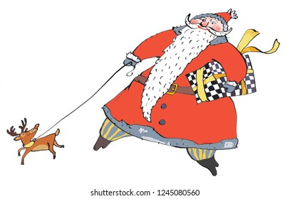 Humorous illustration of walking Santa wearing bright red coat and holding colourful big present tied with yellow ribbon under one arm and holding the leash with a tiny Rudolf the Red Nose Reindeer